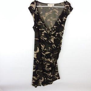 Michael Kors Dress Camo Ruched Side Zipper -VV